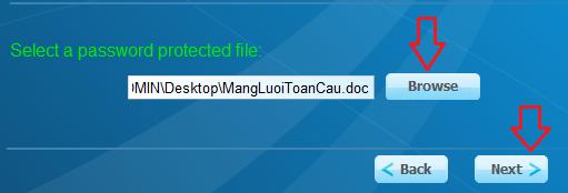 Chọn file có mật khẩu