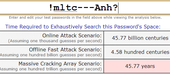 Thời gian dò mật khẩu mạnh