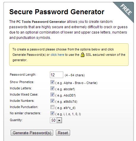 PC Tools Password Generator của Symantec