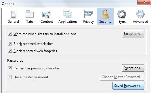 Chọn Saved Passwords