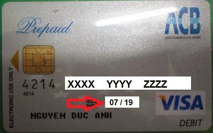 mặt trước thẻ VISA