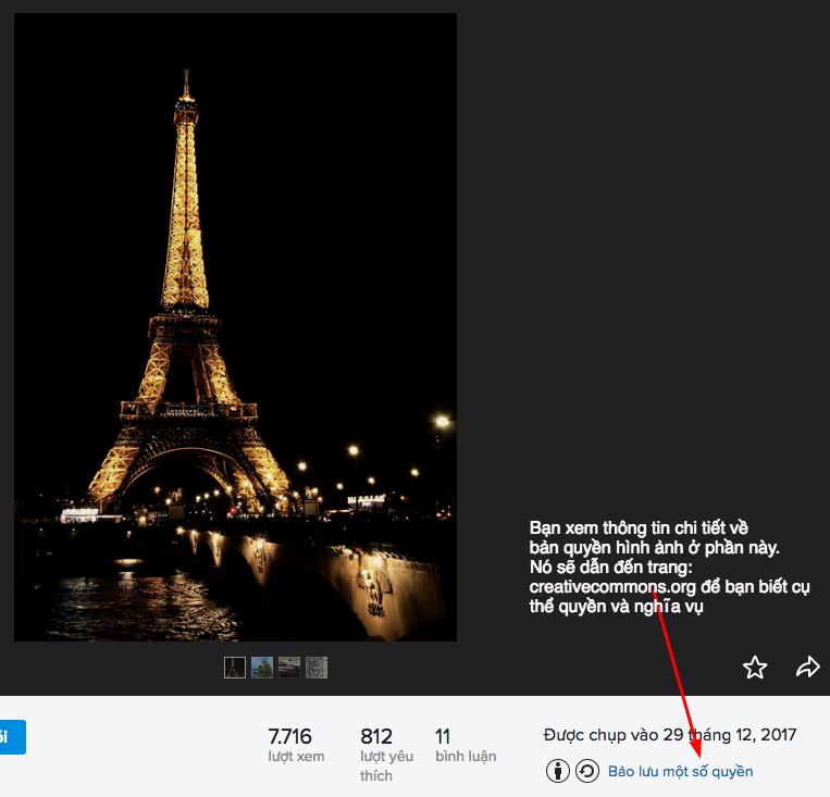thông tin bản quyền hình ảnh cụ thể