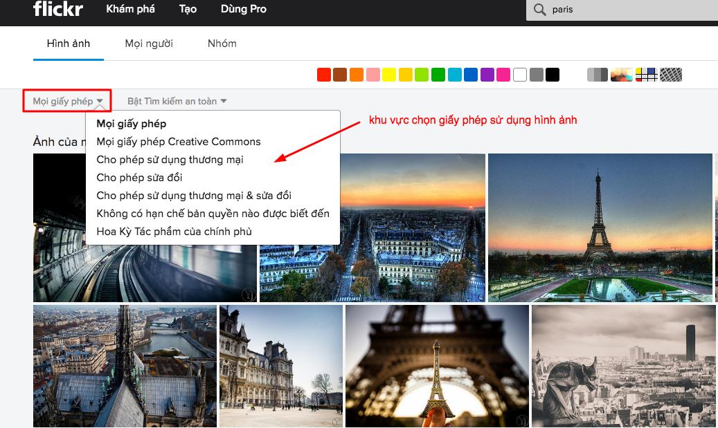 chọn giấy phép flickr