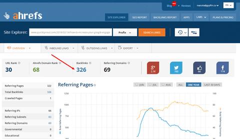 Thực hiện thao tác tìm kiếm backlink đơn giản trên ahrefs.