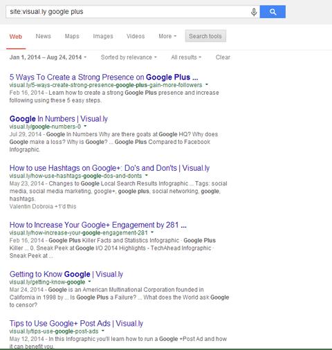 Sử dụng Google để tìm kiếm các infographic liên quan trên Visua.ly