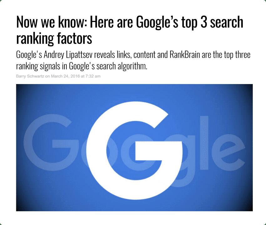 3 yếu tố xếp hạng quan trọng nhất của Google