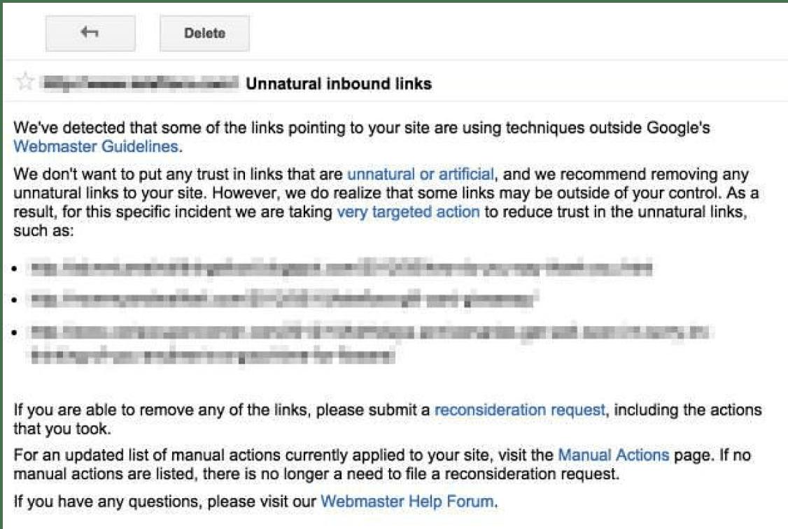 Google gửi thông điệp trừng phạt từ Search Console