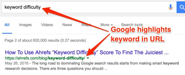 từ khóa trong URL được làm nổi bật