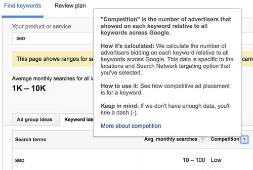 cạnh tranh từ khóa google