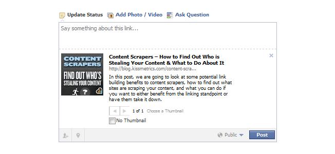 chia sẻ trên facebook - nội dung từ thẻ meta description