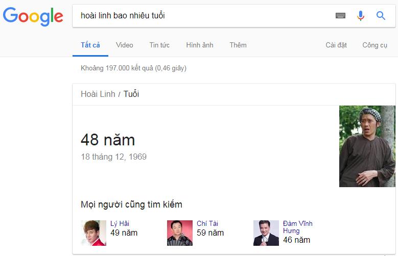 Google trả lời tuổi của Hoài Linh