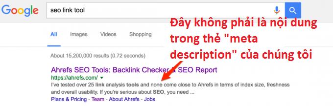 Google không lấy nội dung từ thẻ meta description