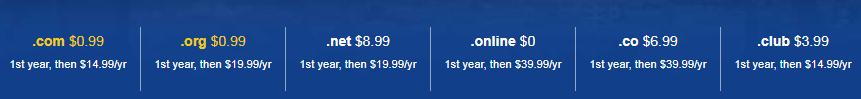 giá tên miền năm đầu tiên rất rẻ