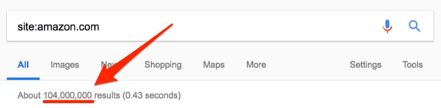 số lượng trang được Google lập chỉ mục