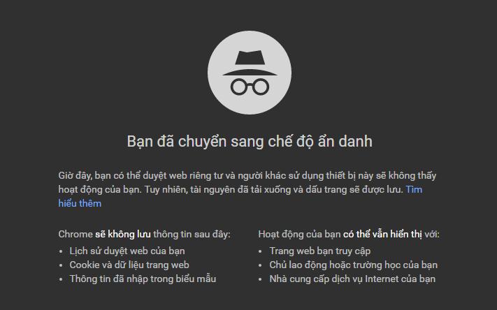 chế độ ẩn danh trên Google Chrome