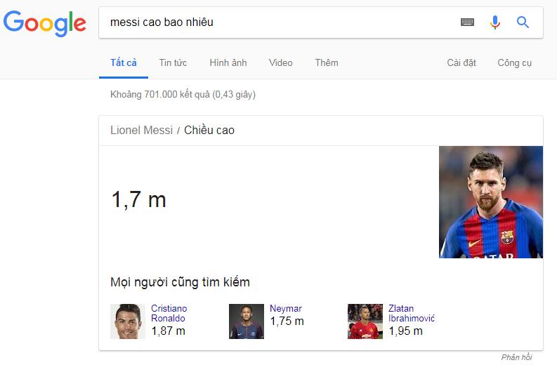 chiều cao của messi - trả lời ngay trên google