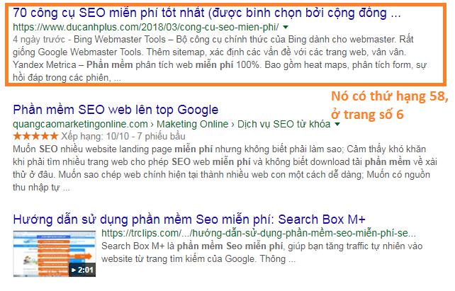 trang ở sâu trong bảng xếp hạng Google