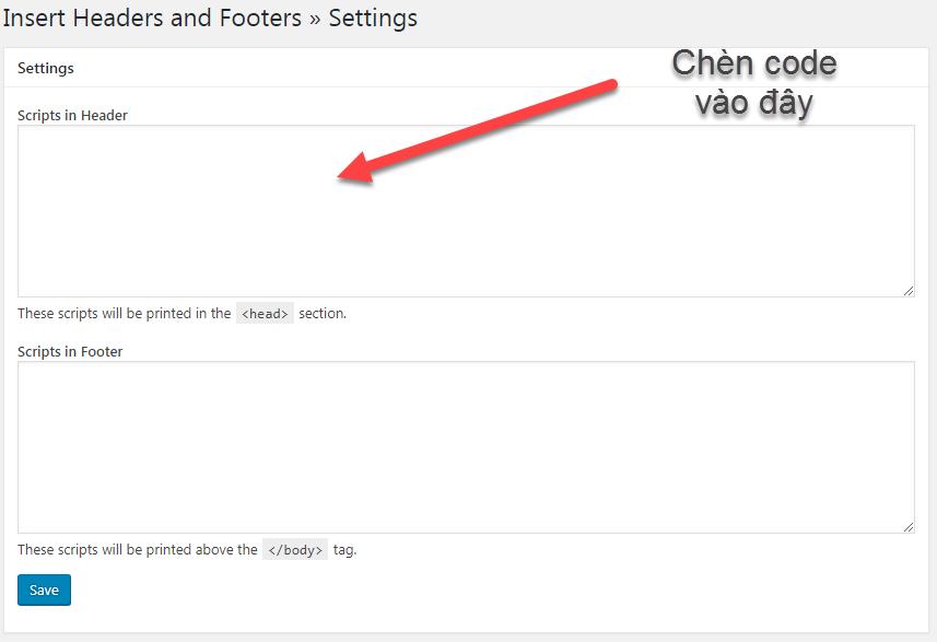 khu vực cài đặt code Google Analytics