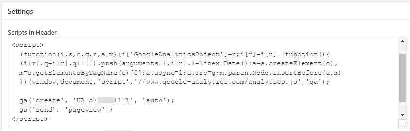 chèn mã Google Analytics vào phần Header
