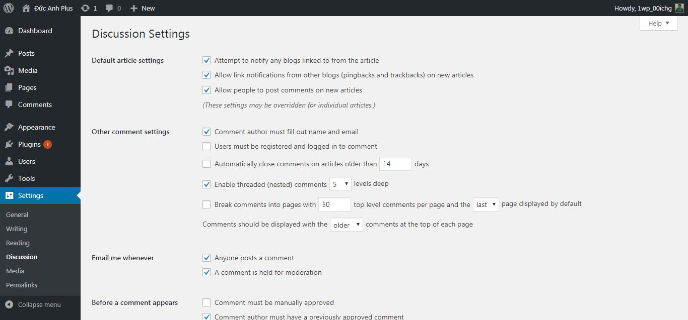 các thiết lập comment mặc định của wordpress