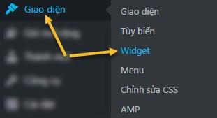 cách vào widget, giao diện tiếng Việt