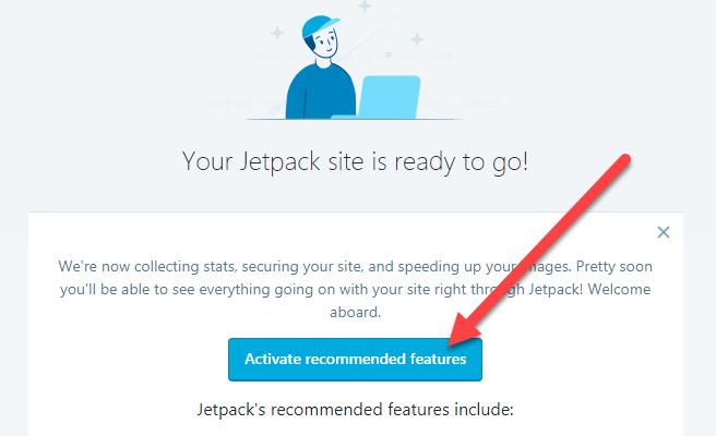kcish hoạt các tính năng gợi ý của JetPack