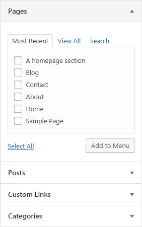 khu vực chọn lựa nội dung cho menu