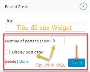tùy chỉnh widget