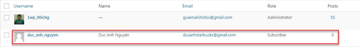 người dùng mới đã được thêm vào thành công