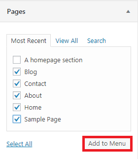 chọn nội dung cho menu từ pages