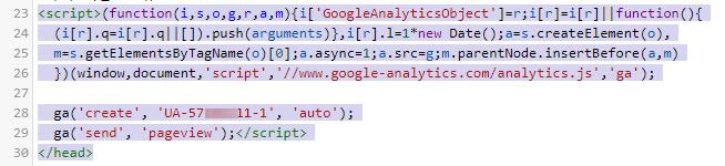 thêm code Google Analytics trước thẻ head