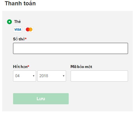 thông tin thanh toán của thẻ VISA