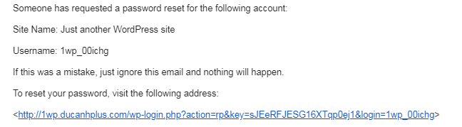 thông tin về cách khôi phục lại mật khẩu