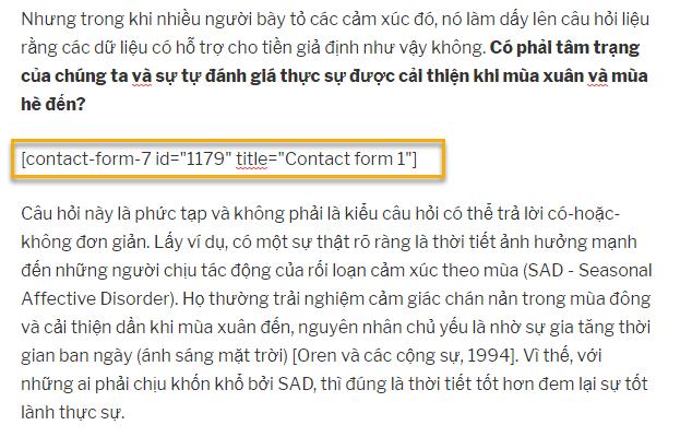 thêm đoạn mã của Contact Form 7 vào bài
