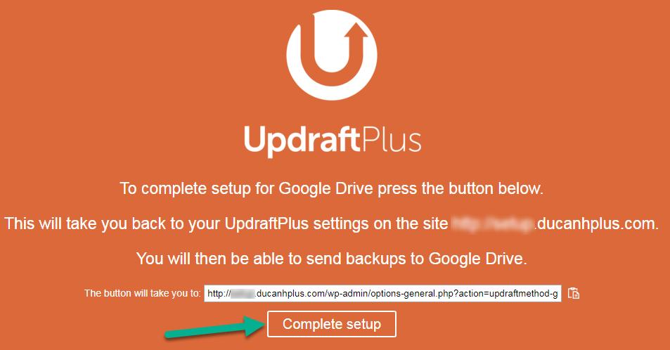 hoàn thành cài đặt UpdraftPlus