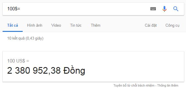 đổi USD sang VND bằng Google