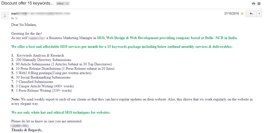 tiếp cận email theo hướng spam