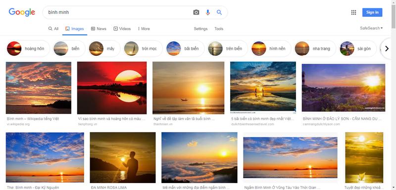 tìm kiếm bình minh trên biển bằng Google hình ảnh