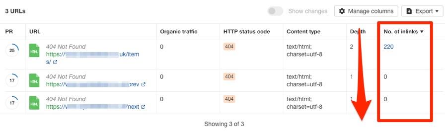 các trang bị lỗi 404 có nhiều liên kết nội bộ trỏ tới