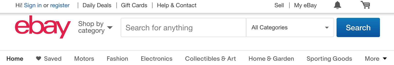 menu của eBay