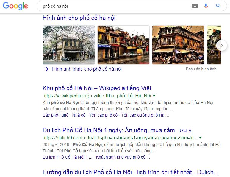 hình ảnh xuất hiện trong tìm kiếm thông thường với từ khóa phố cổ Hà Nội