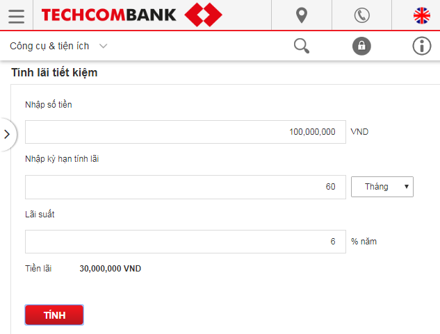 Trang web của ngân hàng Techcombank có ứng dụng hữu ích liên quan đến lãi suất gửi tiết kiệm
