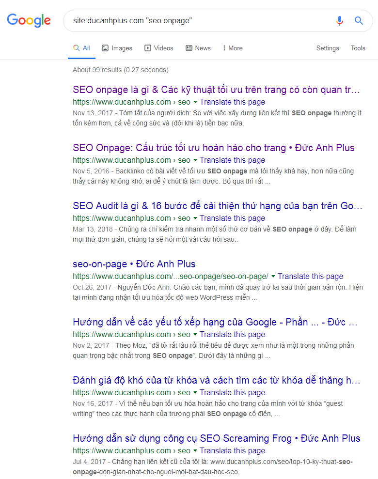 các trang có khả năng cung cấp internal link với từ khóa SEO onpage