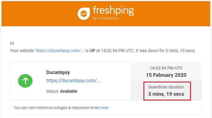 Fresh Ping báo website bị gián đoạn