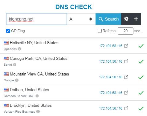 cộng cụ kiểm tra bản ghi A của DNS